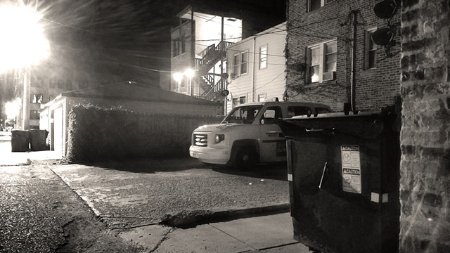 Backyard Taxicab with Street Lamp