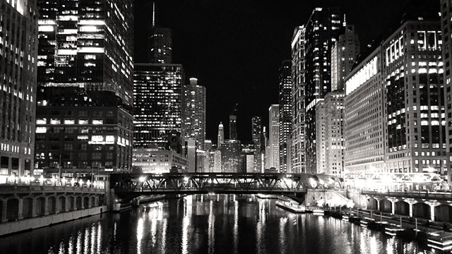 The Chicago River, Looking East from LaSalle Bridge at Night