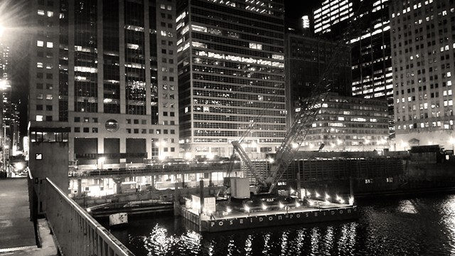 Construction Barge Near Wacker and Monroe