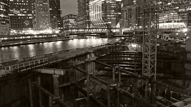 Wolf Point Construction at Night