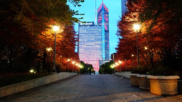 Millennium Park in Autumn, at Dusk
