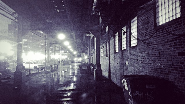 "Cold Hard Rain in South Loop Under the ""L"" Tracks"