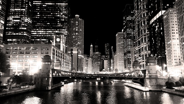 The Chicago River at Night, From Wells Street Bridge Looking East