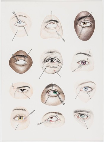 Michael Tarbi Contemporary art graphite drawing of anatomical eyes, work on paper.