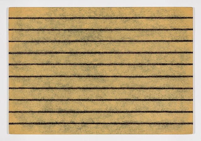 Michael Tarbi small abstract minimalism painting titled Yellow Striped Doormat