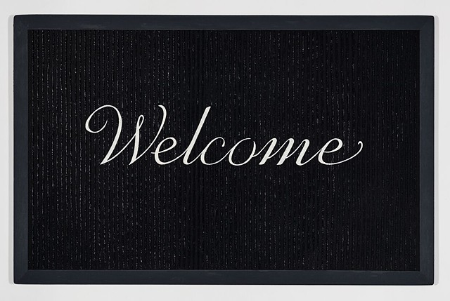 Michael Tarbi conceptual oil painting on panel titled Welcome Doormat - Black