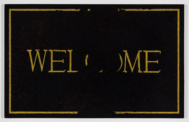 Michael Tarbi conceptual oil painting on panel entitled: Worn Out Welcome Doormat