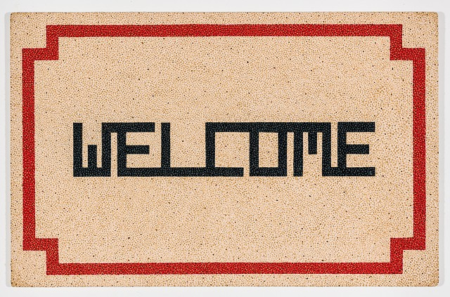 Michael Tarbi conceptual oil painting on panel titled Welcome Doormat - Cork