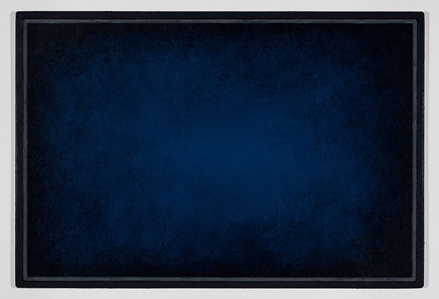 Michael Tarbi small conceptual oil painting titled Blue Doormat