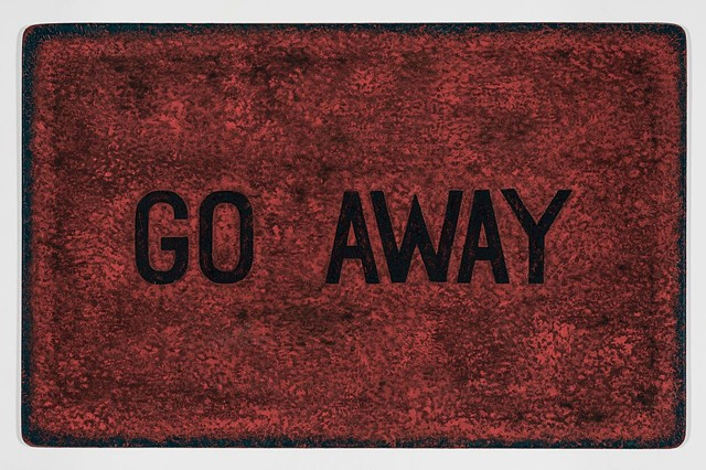 Michael Tarbi small conceptual oil painting on panel titled GO AWAY Doormat