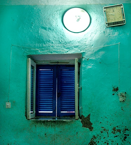Turquoise Wall in Gurna, Egypt    House Interior
