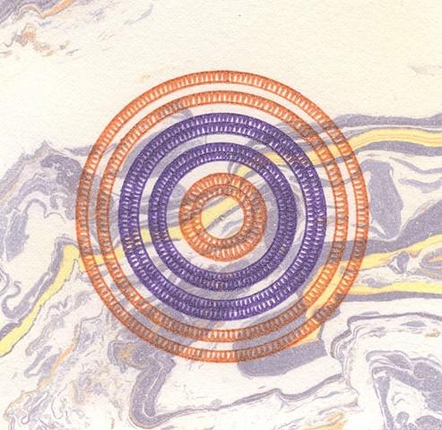 Mandala drawing with suminagashi