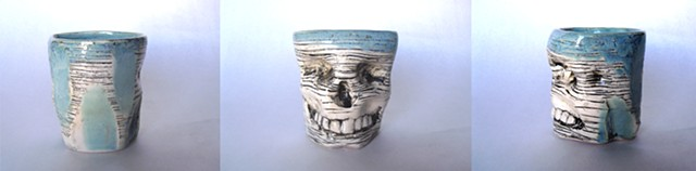 Skull Mug Sky Blue w/ striations and facets