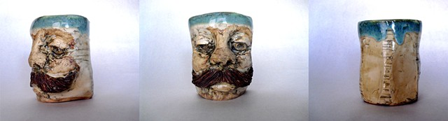Mustache Cup with Light Blue Interior and facets (uncolored)