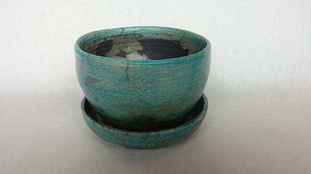 Raku Planter Pot Green