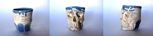 Skull Mug Blue Glaze w/striations and facets