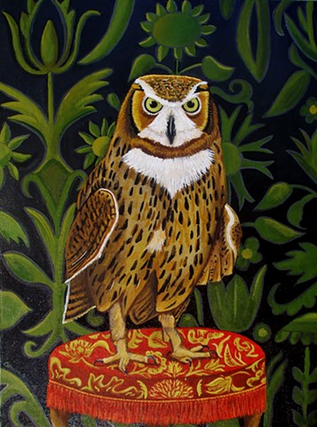 owls, painting, of an owl, bird painting, catherine nolin