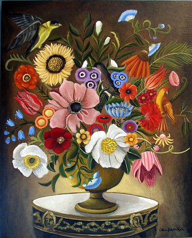 art, painting, original art, floral still life, botanical, birds, Catherine Nolin, art collector, Flemish still life,