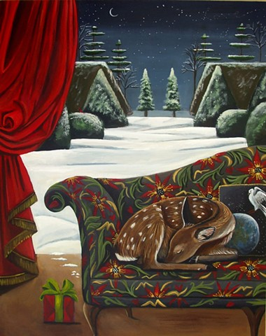 art, painting, deer, catherine nolin, new work, barn swallow