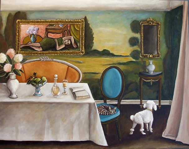 fox painting, art, original painting,poodles,  gift, wall art, interior design, decor, catherine nolin, old masters