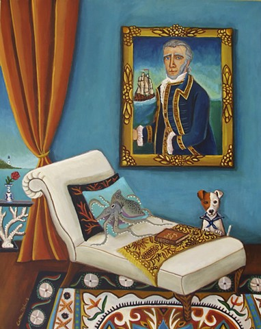 art , painting, catherine nolin,jack russell terrirer, sea sailing interior room painting, pink interior, paris, bouquet of flowers, chandelier