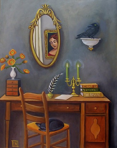 art, painting, edgar allan poe, catherine nolin, interiors, original art, raven, poppies, desk