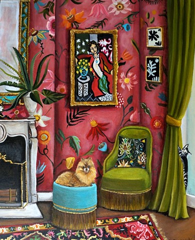Pomeranian dog, alow vera, plants, interiors, pink room, catherine nolin, fireplacce, matisse, floral wallpaper.
