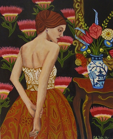 art, painting, catherine nolin, pagoda vase, interior