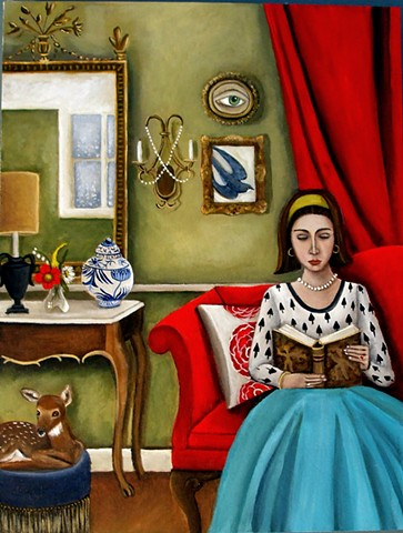 art, paintings, Audubon, birds, ornithology, crane, egret, paintings, catherine nolin, still life, interiors, pearls