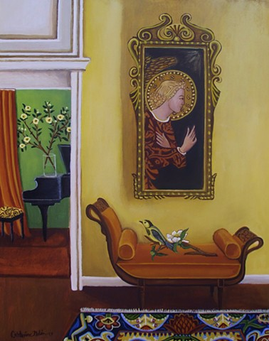 art, painting, catherine nolin, painting of angel, baby grand piano, interior painting, paintnig of a room