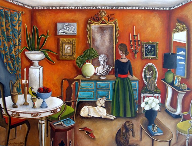 art, painting, chinoiserie, catherine nolin, baltimore oriole, long hair dachshund, yellow lab, tabby cat, interiors, interior design, cabinet of curiosities, orange villa, italian, books, glided mirrors,