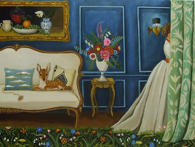 Interior Still Life painting, catherine nolin, art, painting, lover's eye, baby deer, room with a view, interior scene
