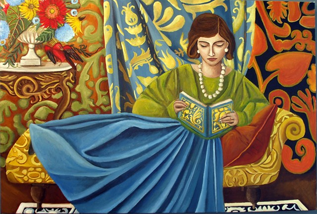 art, contemporary interiors, matisse, paintings, catherine nolin, bold pattern, bold color, figures,chaise lounge,  bird art, still ,life, woman reading