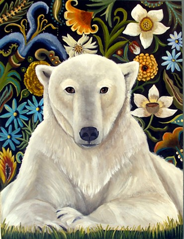 polar bear, north pole, art, paintings, catherine nolin, floral, botanicals