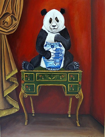panda bear art, paintng, chinoiserie chic, red room, interiors, catherine nolin, black and white