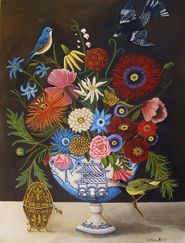 floral painting, still life, botanical garden bouquet, bird painting, catipilar, poppies, catherine nolin, fabrege egg
