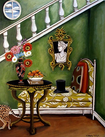 art, painting, statue, interiors, rooms, still life , foral, Italian, leopard, stairway, catherine nolin