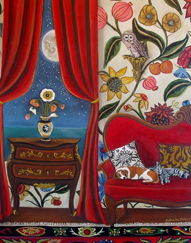 paintings of interior scenes, art, painting of violin , landscape, catherine nolin, the ocean, sea, sailboat painting, animal painting, fox painting.