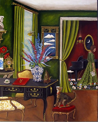 art, painting, deer, interiors, london, british, catherine nolin, whippet, hour glass.
