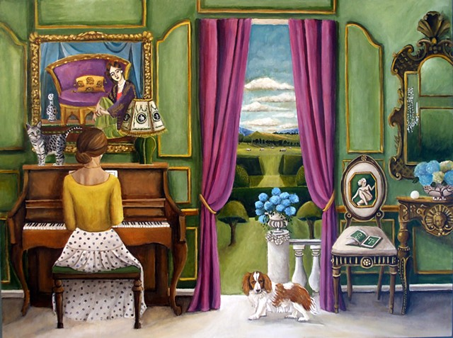 art, painting, chinoiserie  piano, french apartment, interiors, chandelier, king cavalier,cockier spaniel,dogsinart, tabby cat, topiary, hedges, english garden, French furniture,Catherine Nolin, neoclassical, statutes, sheep,
