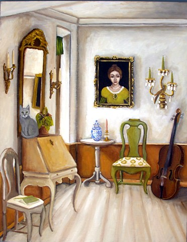 art, painting, gustavian, style, interiors design, cats, cello