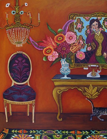 art, painting, catherine nolin, chinoiserie, siamese cat, matisse painting, flowers still life