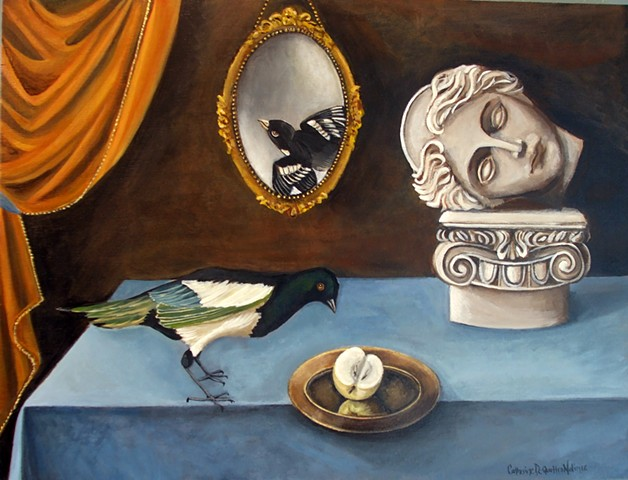 magpie, art, paintings, still life, Catherine Nolin, old masters, Audubon, DeQuattro, birds, marble statue