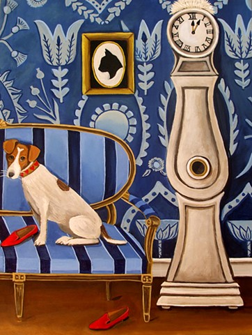 jack russell terrier, painting, art, catherine nolin, interiors