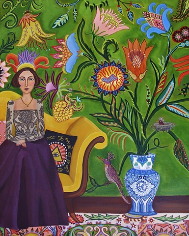 painting, catherine nolin, art, painting of room with vase and flowers