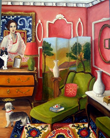 poodle, art, paintings, catherine nolin, still life, animal art, pink chair, french chair.
