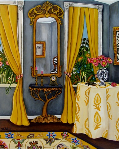 catherine nolin paintings, yellow curtains,