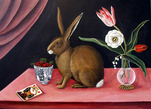 art, painting, rabbit painting, animal art, still life hare, alice and wonderland, queen of hearts, painting, original still life , catherine nolin,
