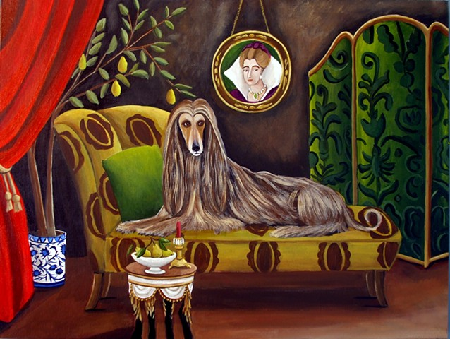afghan dog, chaise, interiors, art, paintings, catherine nolin, dog art, portrait, pear trees, chinoiserie