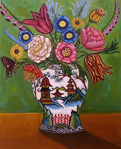art, painting, catherine nolin, bird painting, botanical flowers, vase, chinoiserie